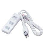 Power Strip, 3 Outlets, with 1SW Dust Blocker