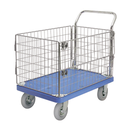 Wagon with Flat Free Tires, with Wire Mesh Frame, with Stoppers