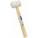 Rubber Mallet with Wooden Handle, White 1/2P