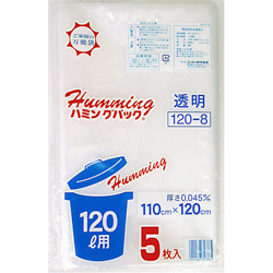 Trash bag, 120 L 5 pieces, polypropylene bag, transparent