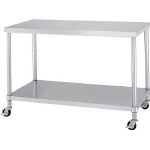 Stainless Steel Workbench, Flat Board Type, with Casters, SUS430 Uniform Load 150 kg