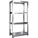 Stainless Steel Medium-Weight Shelf (SUS304 / Solid Shelf Type, 300 kg Type, Height 1,800 mm, 4-Level Type)