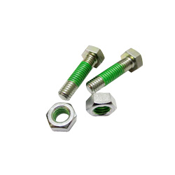 "Hex Bolts LOCTITE ""Precoat"" 202 (SUS) with 10mm Coating Applied at 1-2 Gaps From The Tip"