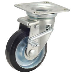 Caster for Medium Loads, G-WJS Type, Type with Rubber Wheels, with Swiveling Bracket, Includes Double Stopper