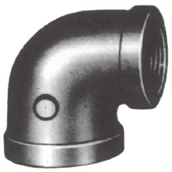 Screw-In Malleable Cast Iron Pipe Fitting, Reducing Elbow with Collar