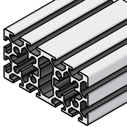 Aluminum Extrusion 6 Series/slot width 8/100x50mm, Parallel Surfacing