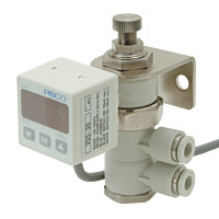 Vacuum regulator, large model with digital display and pressure sensor, union type