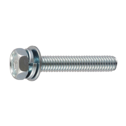 Spring/Flat Washer Integrated 7-Mark Hex Upset Screw (SW + JIS Flat W)