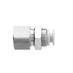 Bulkhead Connector KGE Stainless Steel One-Touch Fitting, KG Series.