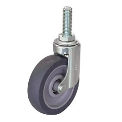 Reduced Noise Caster, Screw-In Elastomer Wheels, Freely Rotating