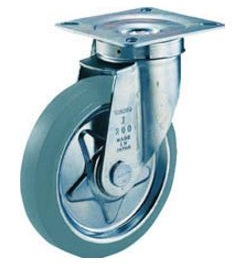 Press-Formed Gray Rubber Caster, Freely Rotating