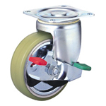 Heavy Class 100HB-PAs Truck Type PA Polyurethane Wheel (Packing Caster) with Roller Bearings and Stopper for Heavy Loads