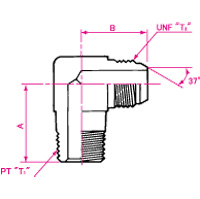 Pipe Jointing JIC37° Flare NPT Male 90° Elbow